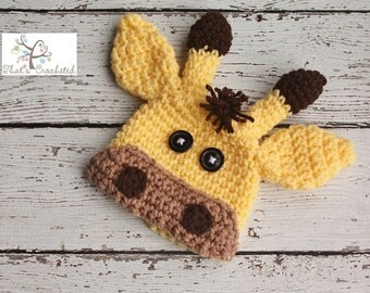 Newborn Giraffe hat, Newborn photography prop, newborn boy, newborn girl,crochet hat, giraffe hat