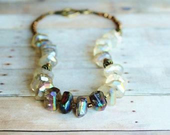 Tourmalated Quartz Necklace. Tourmalinated Quartz. Bohemian Jewelry. Metallic Beads. Positive, Harmony, Serenity.