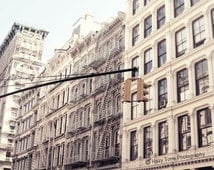 New York Photography, NYC Art, Soho Photo, Cast Iron Buildings Picture, White, Beige, Neutral, Wall Decor, New York Wall Art, 8 x 10 Print