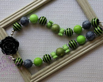 Black and Lime Bubblegum Necklace, Halloween Chunky Necklace, Photo Prop, Children's Halloween Necklace, Toddler Bubblegum Necklace