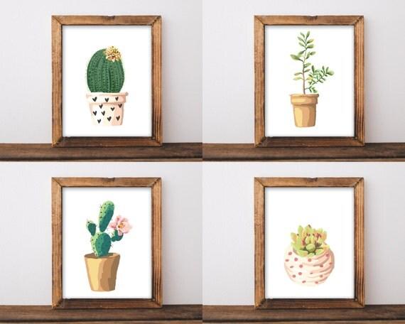 set of 4 prints modern printable art botanical print set. Black Bedroom Furniture Sets. Home Design Ideas