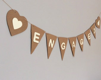 Engagement Bunting Decoration, Party Celebration, Engaged Banner, Photo Prop