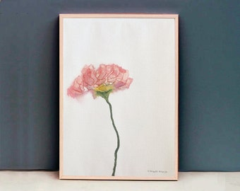 Scrambled Flower Pink, Original watercolor painting, by Nanna Strandgaard