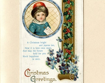 Vintage Christmas Postcard Pretty Girl with Brown Hair Red Fur Hat Blue Coat Violets Embossed IAPC Used Rutland VT Post Card - 4494Pe