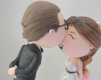 Cute couple kiss. Wedding cake topper. Wedding figurine. Handmade. Fully customizable. Unique keepsake