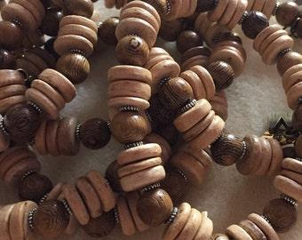 Men's Wood and Coconut Bead Bracelet