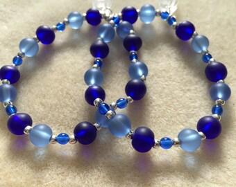 Frosted Light and Dark Blue Glass Bracelet