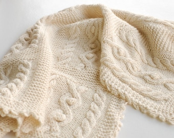 Cable Knit Blanket Baby Alpaca chunky hand knitted - Cable knit braided natural white throw quilt Afghan