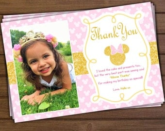 Minnie Mouse Thank You Card, Minnie Mouse Pink and Gold Thank You Card
