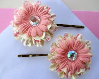 2-Flower girl bobby pins-Pink flower girl hair accessory with sparkly jewel-little girls-hair accesssories-Girls Hair pins-wedding gift