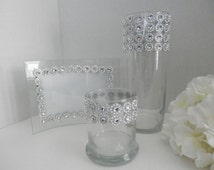 Wedding centerpiece , Picture frame, Wedding table set gold or silver, Wedding shop, Rhinestone candle holder, Flower vase and candle holder