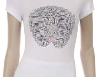 Black Natural Hair Afro Girl Rhinestud Iron on Shirt