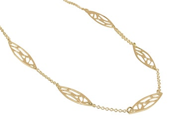 Silver / Gold Geometric Pattern Necklace, Gemoetric Jewelry, Exclusive Design,  925 Silver, 14K Yellow Gold Plate Y998