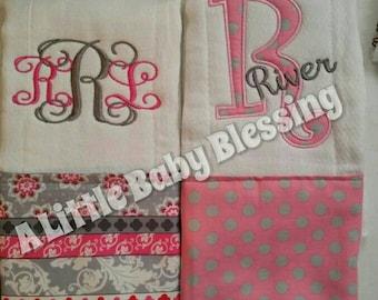 Burp cloth diaper cloth personalized monogramming applique