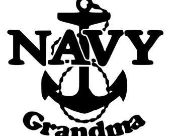 Navy Grandma Die-Cut Decal Car Window Wall Bumper Phone Laptop