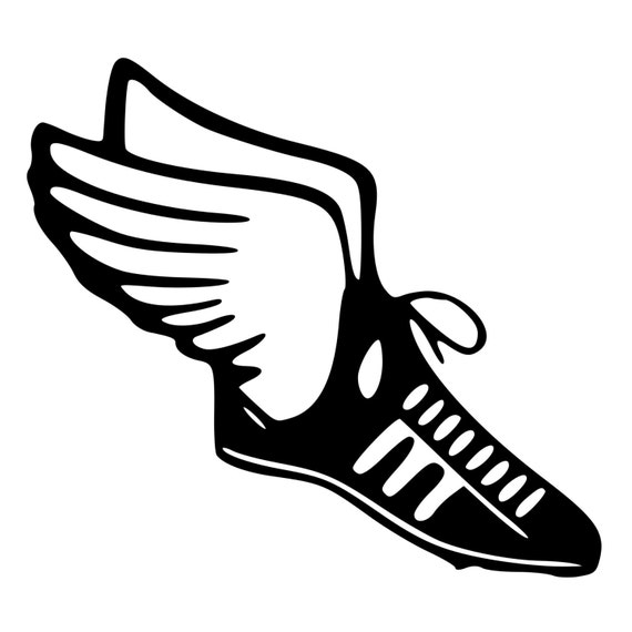 track shoe silhouette track field runner shoe with wings die cut decal car window 2144