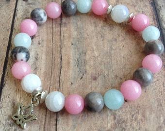 Moonstone, Rhodonite & Aquamarine Fertility Bracelet. Healing Gemstones. Fertility, Pregnancy, IVF Bracelet, Infertility Help