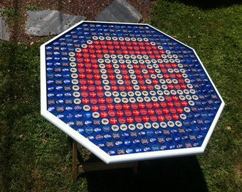 Beer Bottle Cap Art American Flag Stained Background