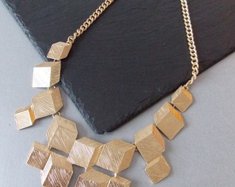 Gold Square Geometric Statement Necklace