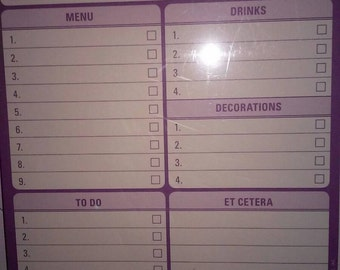 Party Time List Things To Do Pad 60 sheets Planning Organizing Stationery NIP