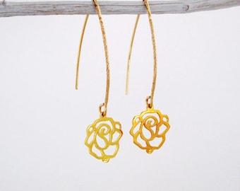 Rose Dangle Gold Earrings, Dangle Gold Earrings, Dangle Earrings Gold, Rose Gold Earrings, Rose Earrings, Gold Earrings, Dangle Earrings