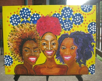 Curlfriends Version 1 18x24 Acrylic Painting