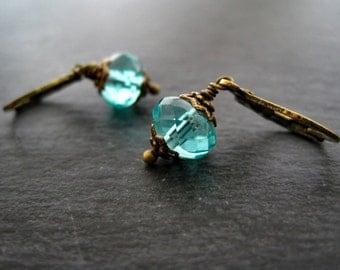 Earrings vintage czech glass beads turquoise dangles brass