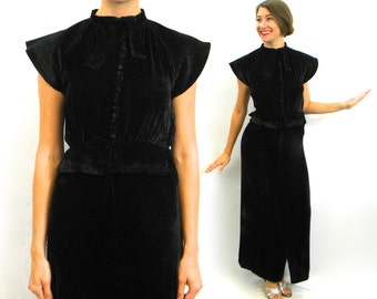 30s Black Silk Velvet Gown | Black Evening Gown | Long Silk Dress | Extra Small