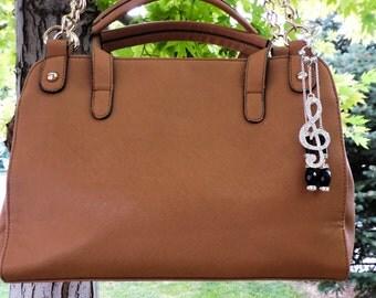Treble Clef rhinestone purse charm