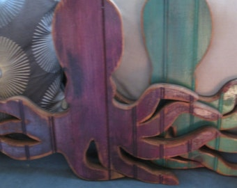 Reclaimed Wooden Octopus, Squid Wall Decor