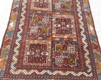 Size:6 ft by 4 ft Handmade Rug Vintage Afghan Tribal Herati Carpet
