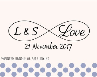 Custom Personalized Wedding Stamp - Mounted Handle or Self Inking - Infinite love - 016