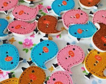 Mixed lot bird buttons 2cm 2 hole (set of 10)