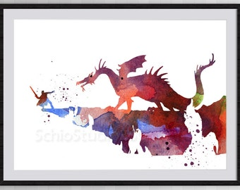 Philip vs Maleficent Watercolor Print from Sleeping Beauty - Giclee Home Decor Nursery Room Decor Wall Hanging Disney Movie Poster