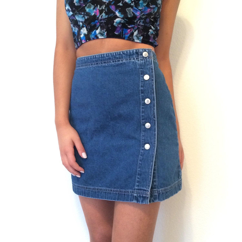 vintage button front denim mini skirt by shopwildmink on etsy