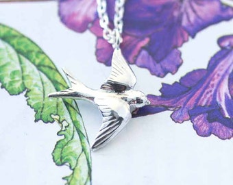 Swallow Necklace, bird jewellery, Silver necklace, Uk seller