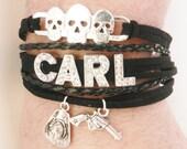 THE WALKING DEAD Carl Grimes Zombie Skulls Hat Pistol Charms Adjustable Bracelet Women's Jewelry Christmas Gift Birthday Gift
