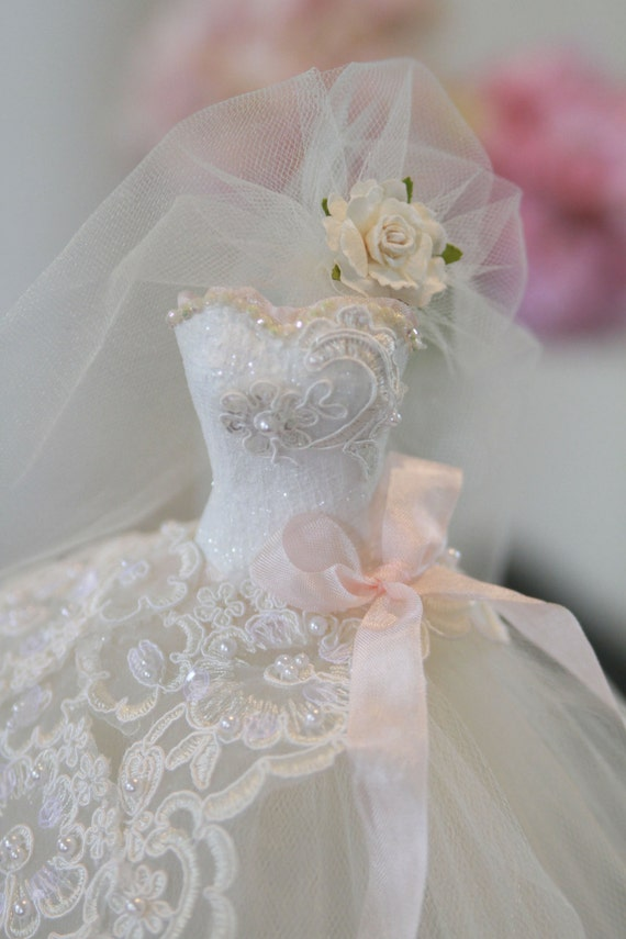 Custom bridal centerpiece princess wedding gown bridal for Wedding dress vase centerpiece