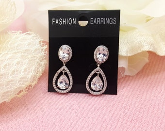 Tear Drop AAA Cubic Zirconia Wedding bridal Earrings, CZ  bridesmaid Sparkling Cut earrings
