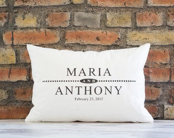 Custom Pillow Cover, name pillow with est. date, valentine gift, wedding gift, personalized pillow, family name pillow, gift for her