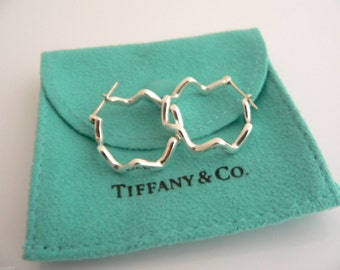 Tiffany & Co Silver Picasso Zig Zag Earrings Hoops Rare Excellent Pouch