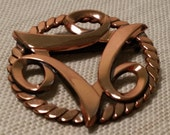 Vintage Mid Century Modern Retro Era Round Copper Brooch Pin