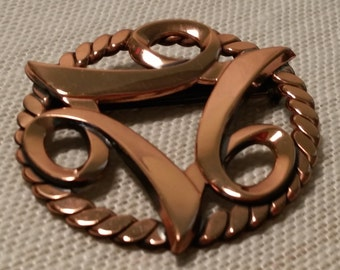 Vintage Mid Century Modern Retro Era Round Copper Brooch Pin
