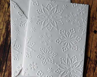 5 Large Snowflake Embossed Cards, White Embossed Christmas Card Set, White Embossed Snowflake Cards, Winter Note Cards, Winter Stationery