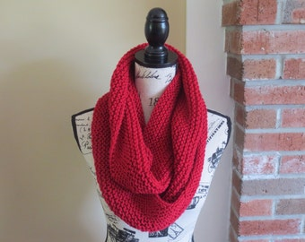 Red Hand Knit Infinity Scarf