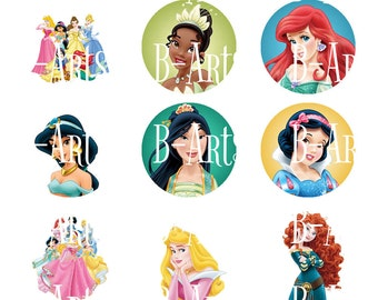 Disney Princess Bottle cap images, Digital file, Instant Download, Cinderella, Belle, Tangled etc...