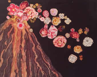 Embroidered painting: volcano spewing flowers