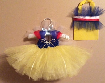 Infant ,Toddler, Baby Snow White Costume, Tutu Dress and Birthday Outfit with Matching Tutu Bag