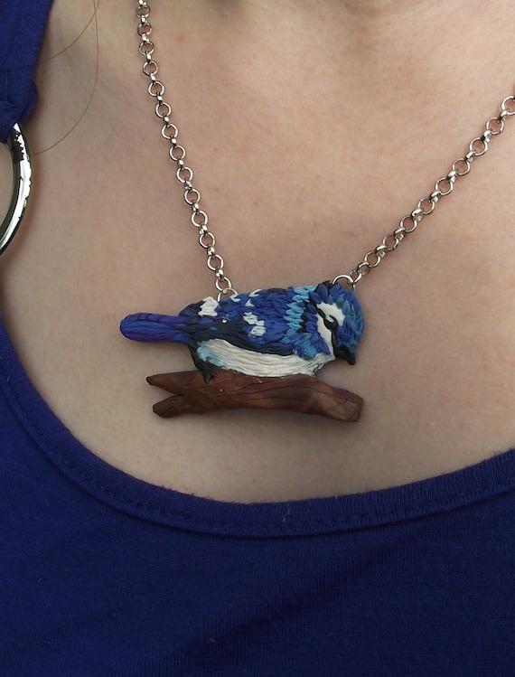 Blue jay necklace Bird polymer clay jewellery Countyside art jewellery Countryside handmade polymer clay pendant Pool of gems jewellery UK
