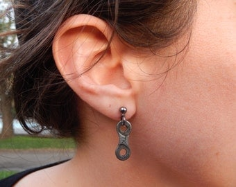 Bike chain link earrings